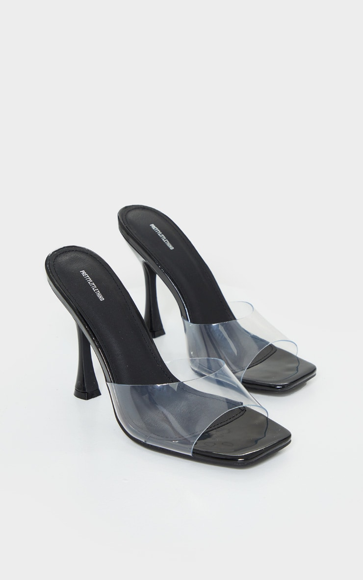 Black Square Toe Clear Mules 3