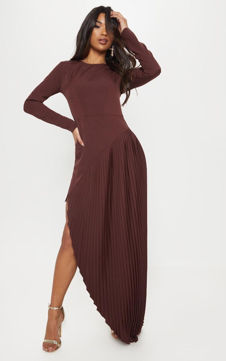 Fitted Long Sleeve Maxi Dresses Leg Cut