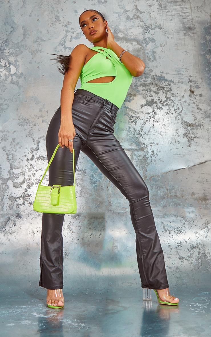 Lime Slinky Cut Out Sleeveless Bodysuit 3