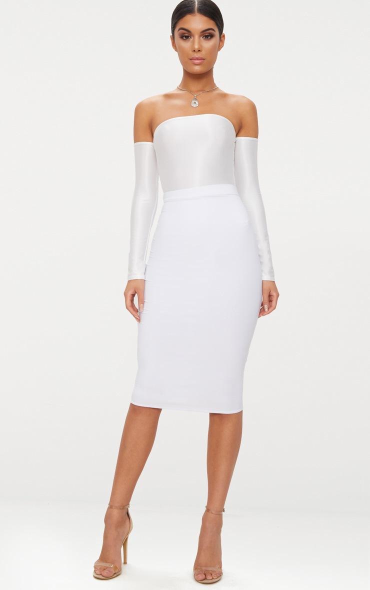 Cream Slinky Shimmer Long Sleeve Bardot Thong Bodysuit  5