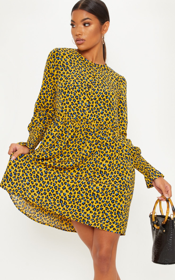 Mustard Leopard Print Covered Button Shirred Detail Smock Dress 5