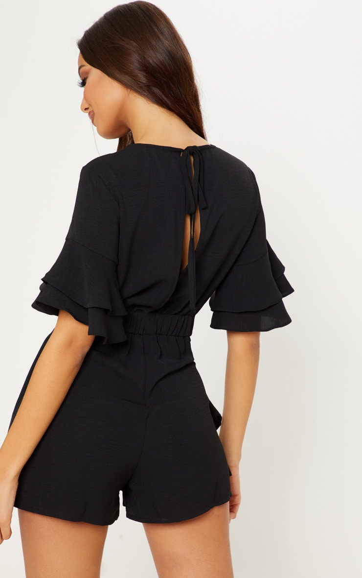Black Frill Sleeve Tie Back Playsuit 2