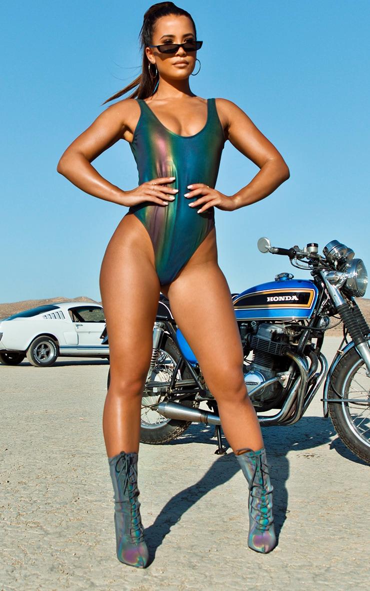 CMF1003 Petrol Reflective Scoop Swimsuit