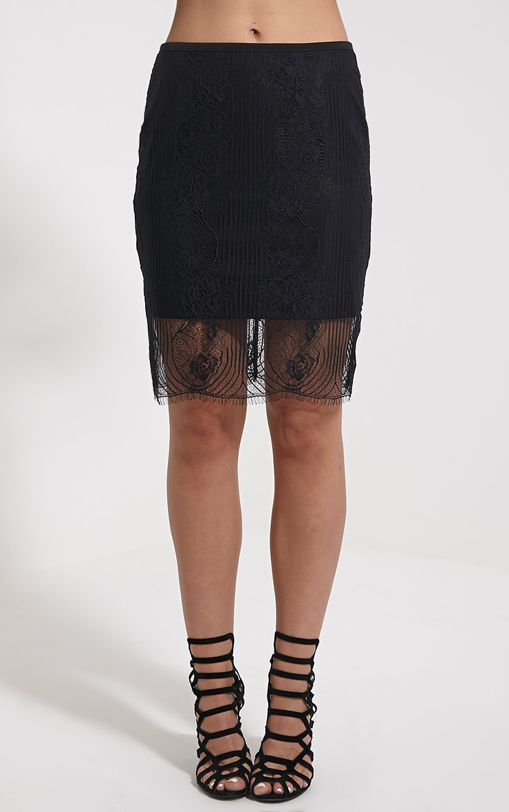 Luisa Black Lace Mini Skirt 2