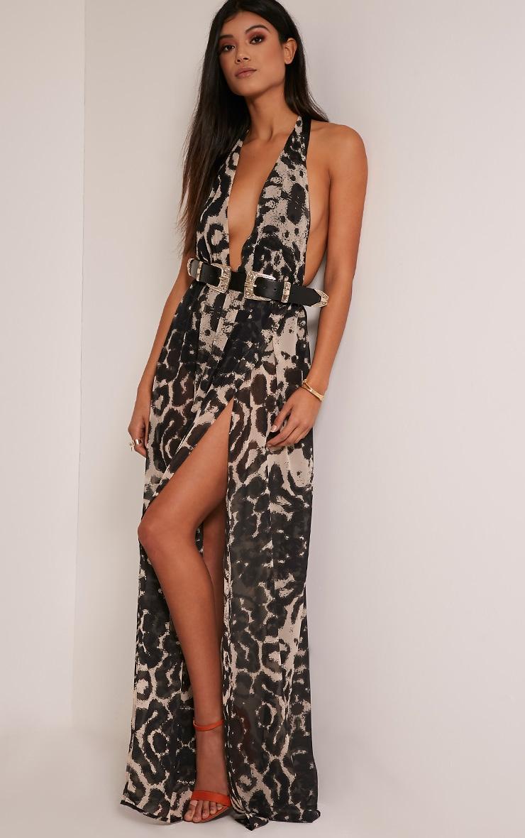 Alina robe maxi taupe décolleté plongeant imprimé léopard 1
