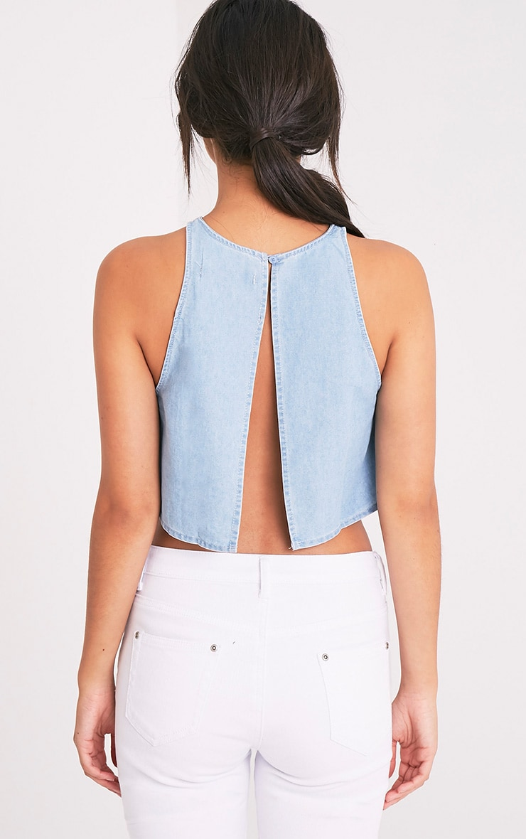 Shaz Light Wash Open Back Crop Top 2