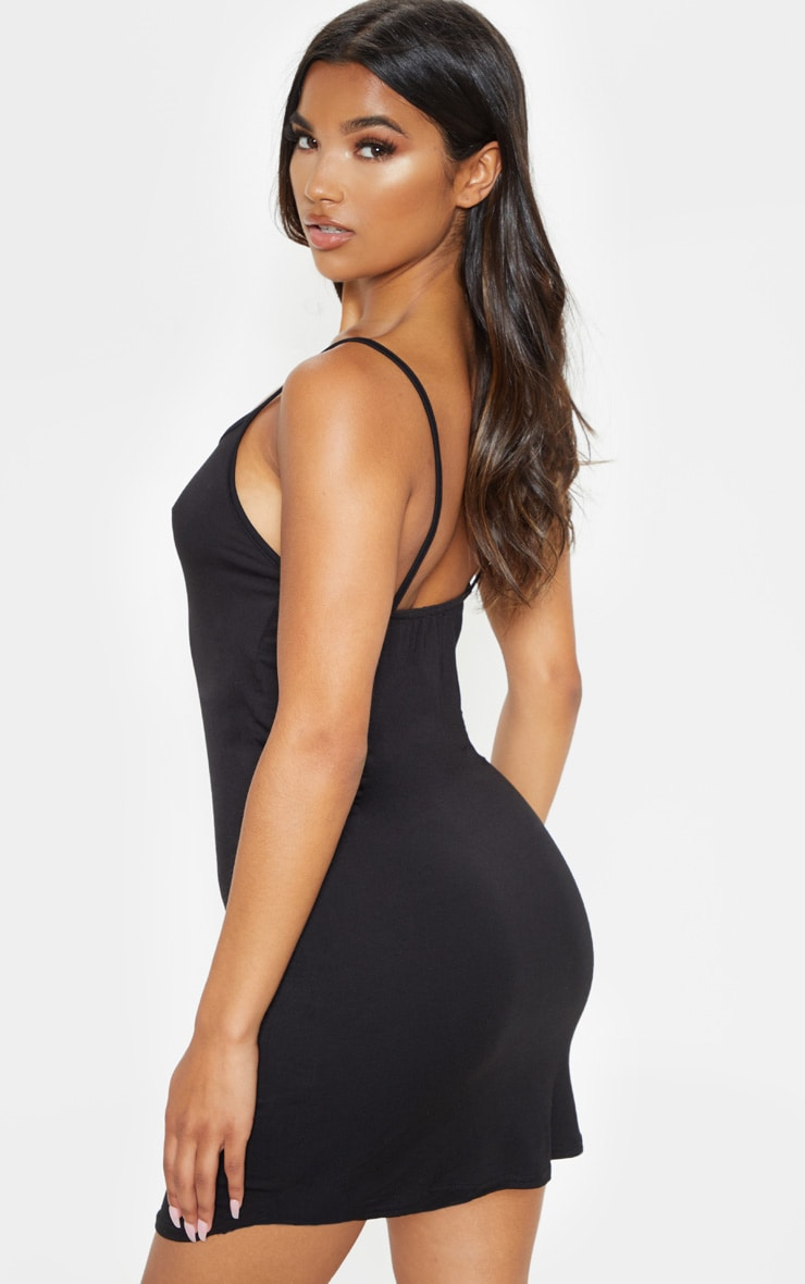 Black Jersey Curved Hem Strappy Bodycon Dress 2