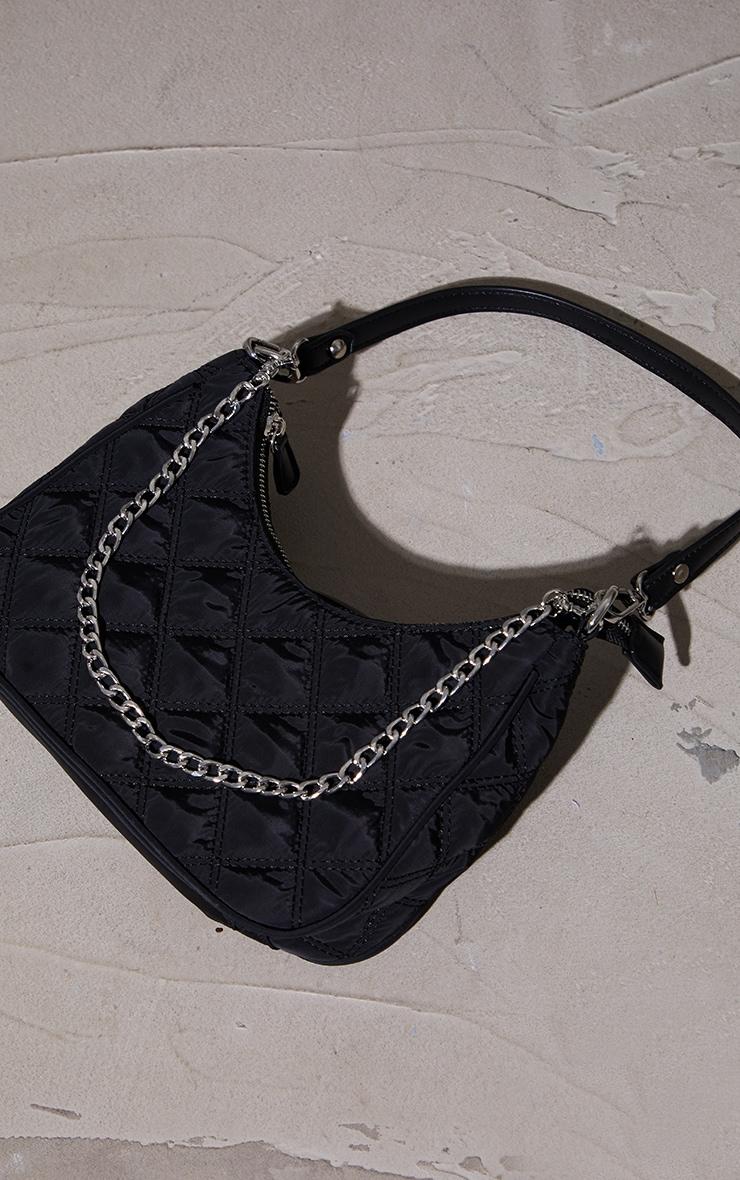 Black Quilted Silver Chain Detail Shoulder Bag 2