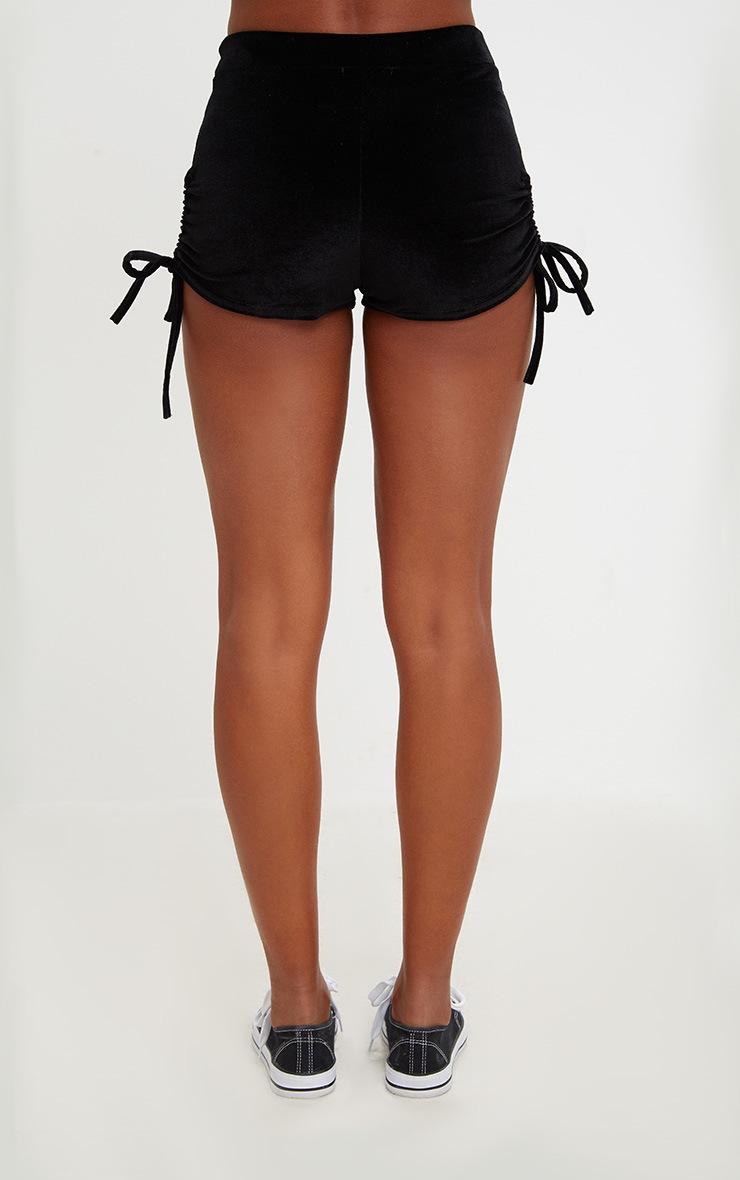 Black Velvet Side Ruche Hotpants 4