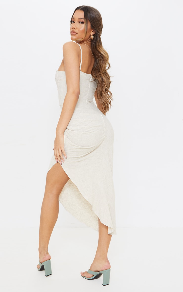 Stone Linen Strappy Gathered Skirt Detail Midaxi Dress 2
