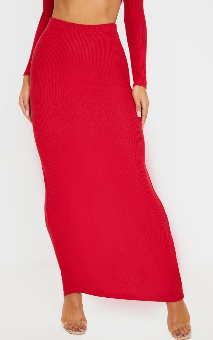 Scarlet Brushed Rib Midaxi Skirt 2