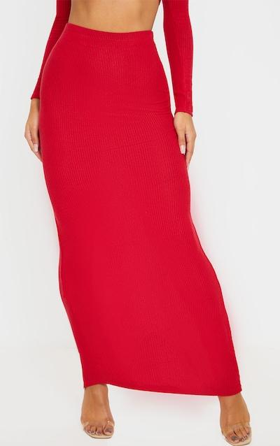 Scarlet Brushed Rib Midaxi Skirt