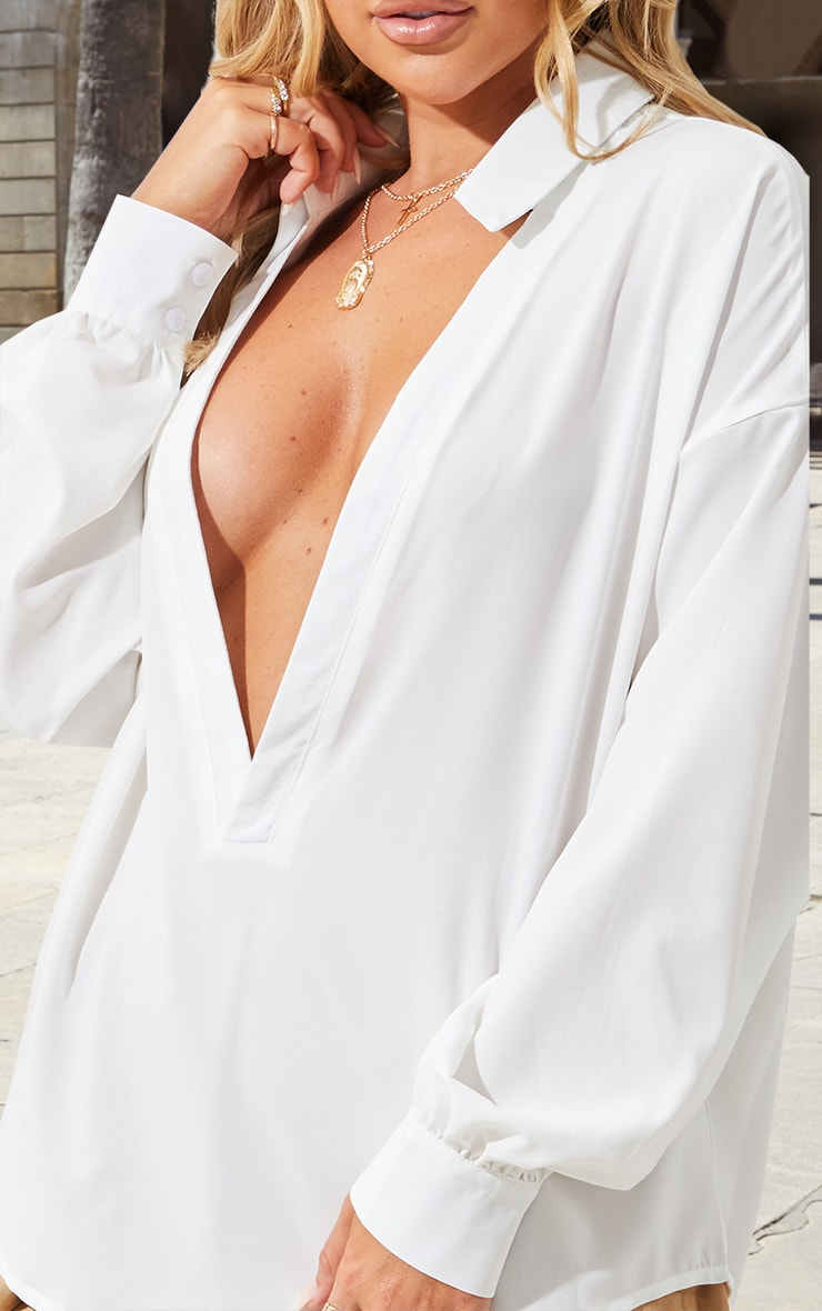 White V Plunge Blouse 5