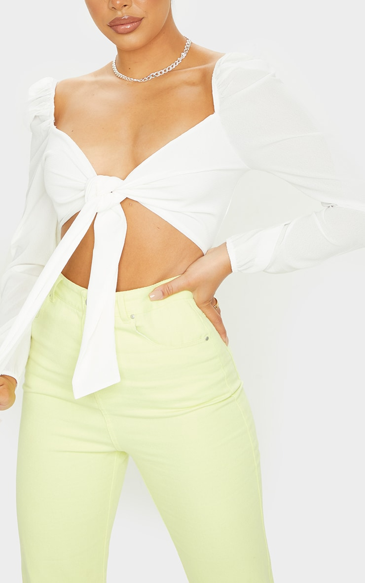 White Tie Front Chiffon Puff Sleeve Blouse 4