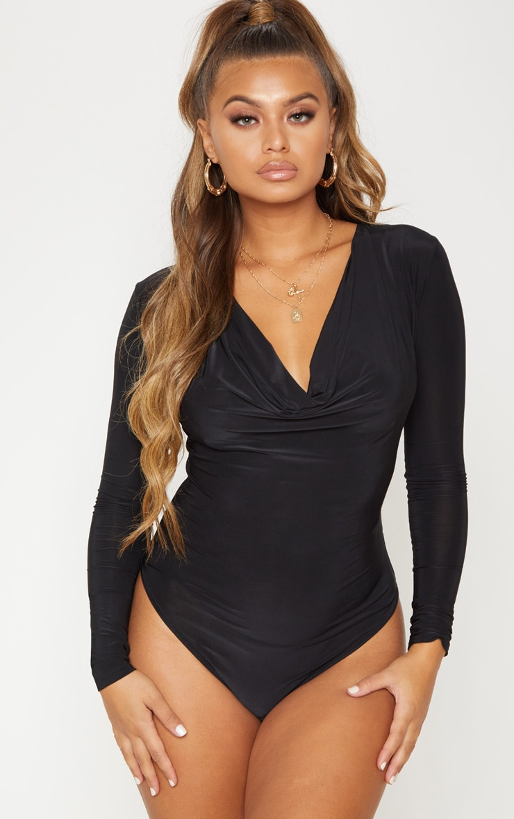 Black Long Sleeve Cowl Neck Bodysuit 3