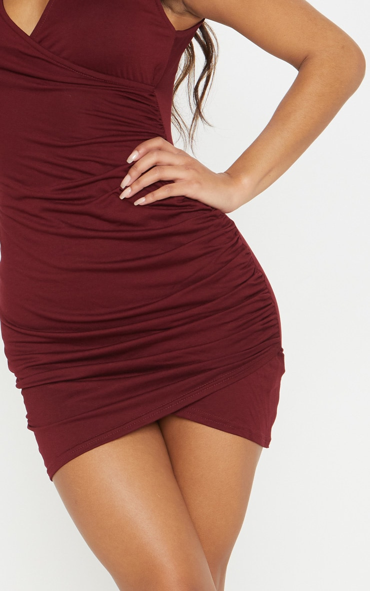 Amaris Burgundy Choker Detail Ruched Wrap Front Bodycon Dress 5