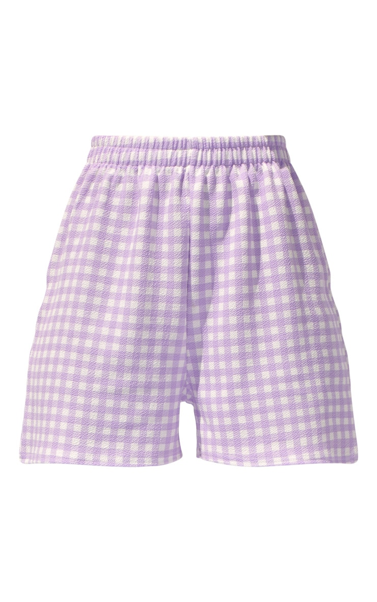 Lilac Gingham Oversized Floaty Shorts 6