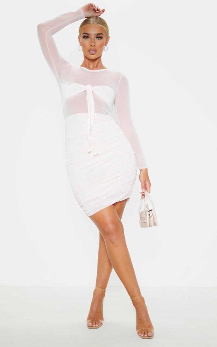 Nude Mesh Tie Front Detail Long Sleeve Bodycon Dress 1