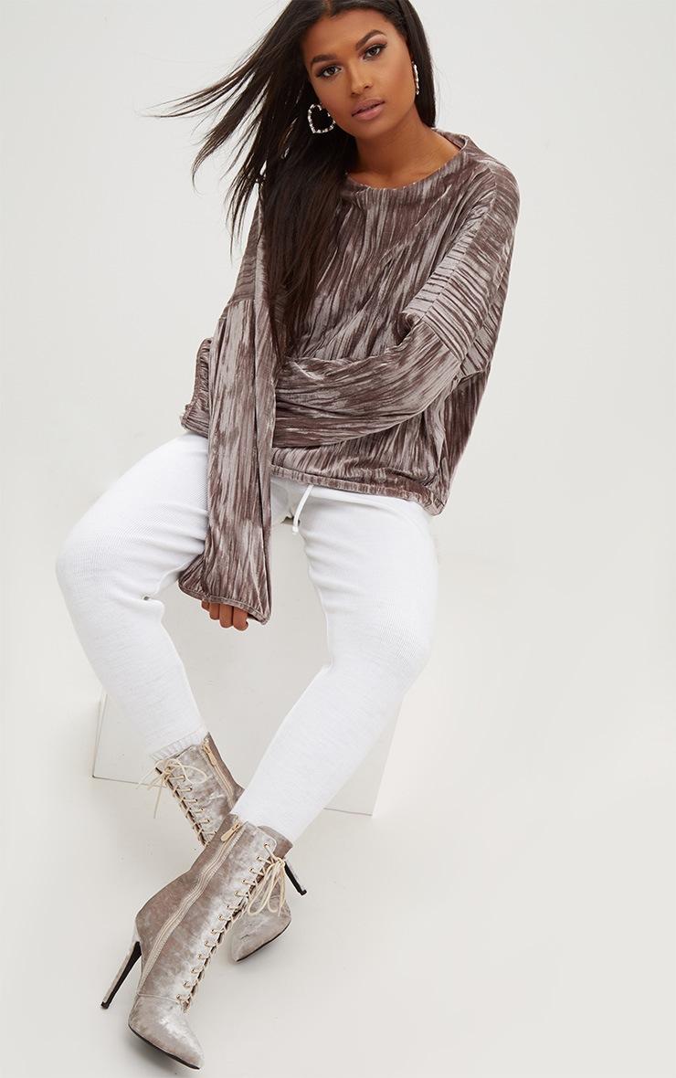 Stone Pleated Velvet Oversized Sweater 4