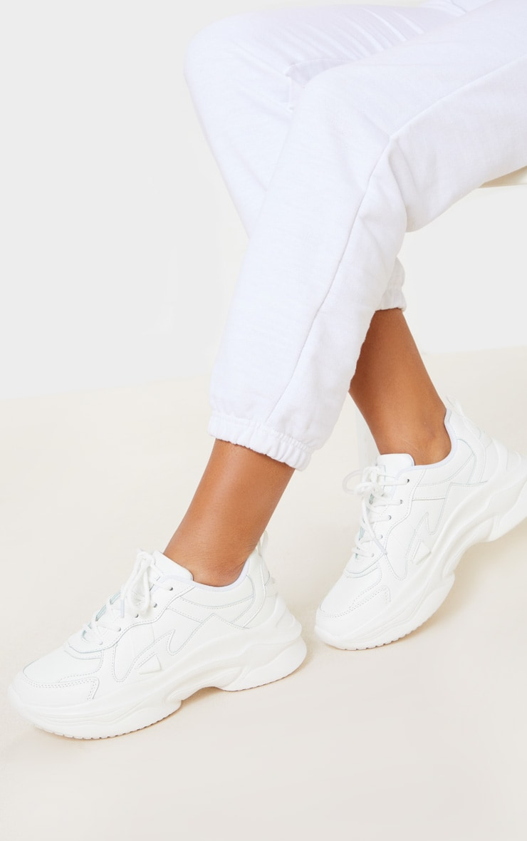 White PU Chunky Bubble Sole Trainers 1