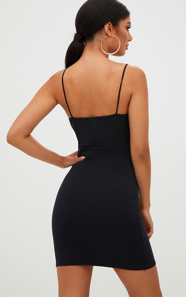 Black Tie Front Bodycon Dress 2