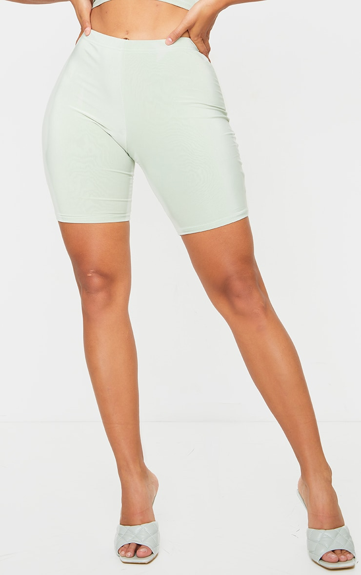 Shape Sage Green Slinky Ruched Bum Cycling Shorts 2