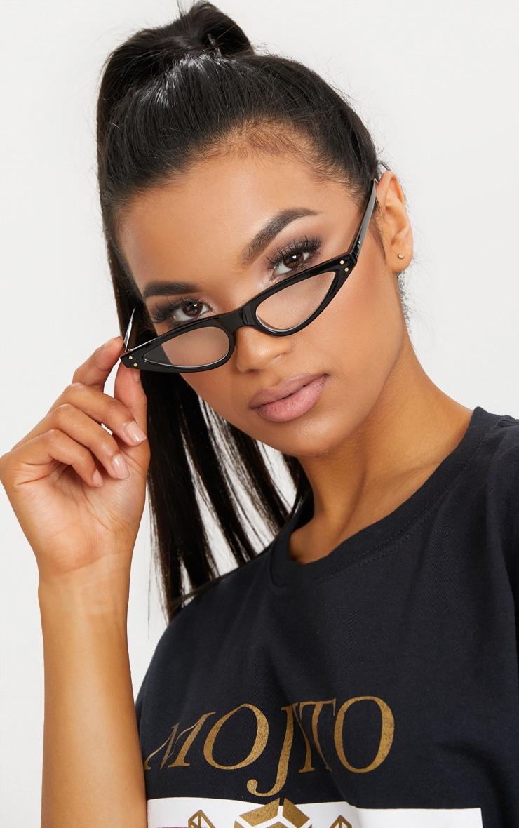 Black Clear Lens Cat Eye Skinny Glasses