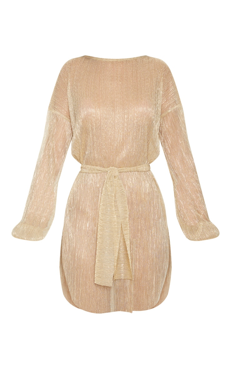 Gold Plisse Balloon Sleeve Sheer Shift Dress 3
