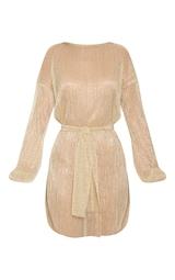 Gold Plisse Balloon Sleeve Sheer Shift Dress 1