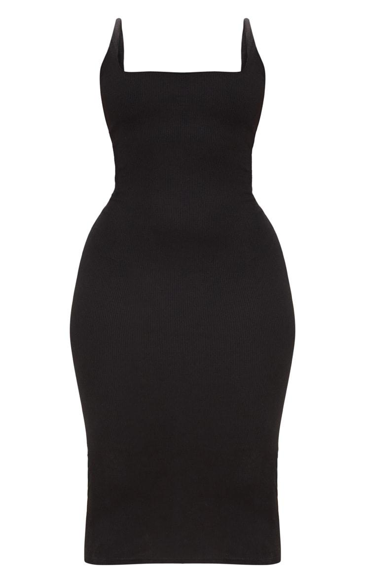 PLT Plus- Robe mi-longue côtelée noire à col carré 3