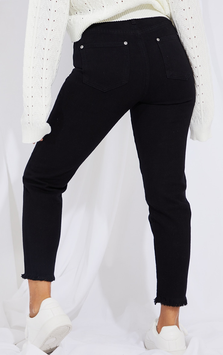Petite Black Denim Raw Hem Straight Leg Jeans 3