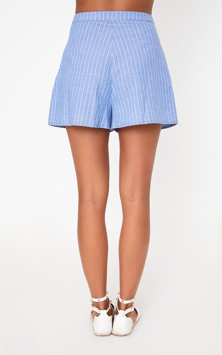 Blue Pinstripe Shorts 4