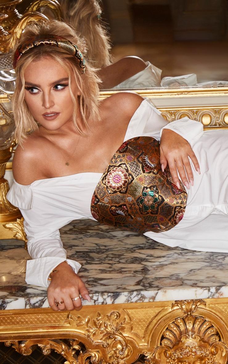 White Jacquard Corset Detail Bardot Shirt Dress 3