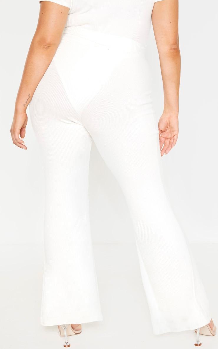 Plus Cream Brushed Rib Tie Waist Wide Leg Pants 3