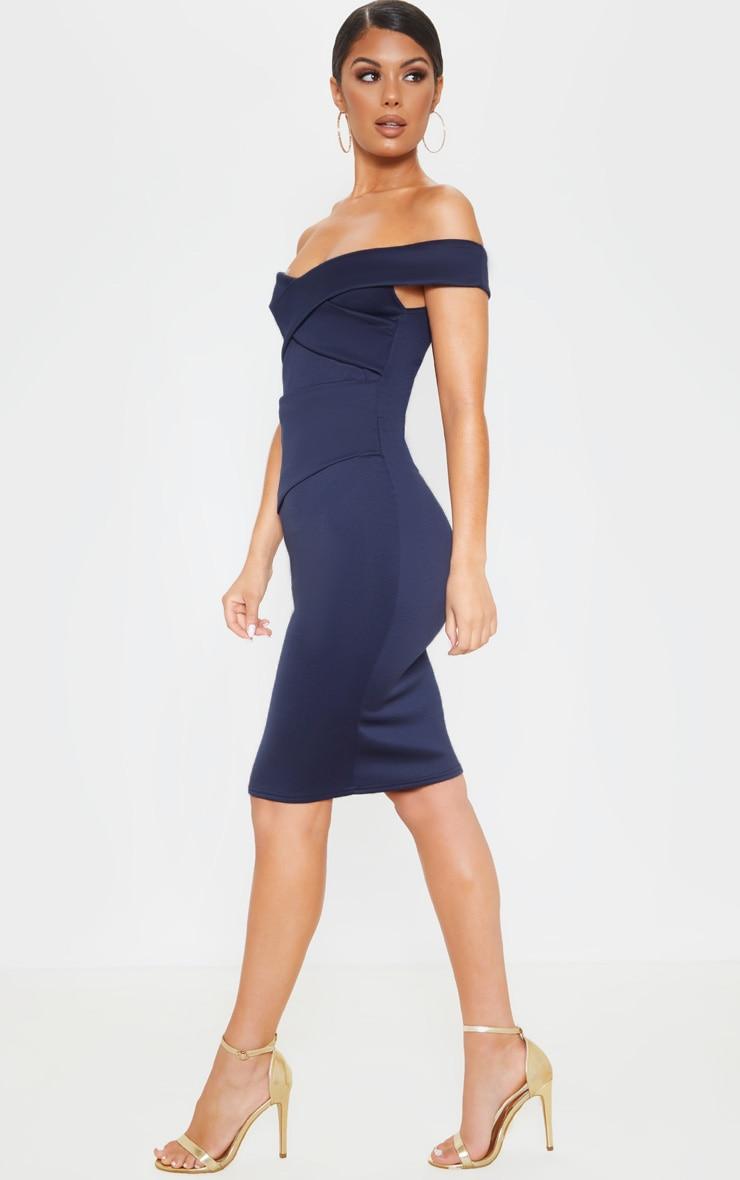 Midnight Blue Bardot Detail Midi Dress 4