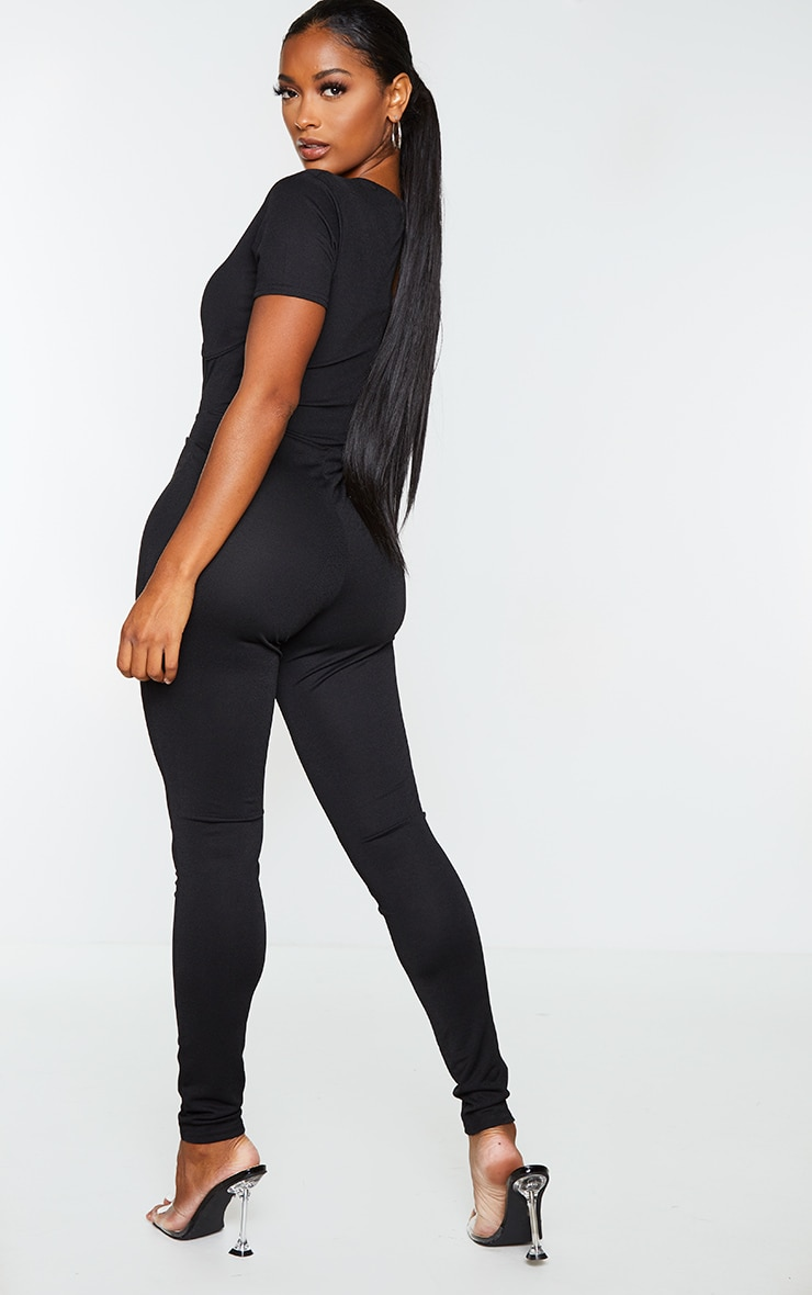 Shape Black Underbust Detail Short Sleeve Jumpsuit 2