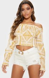 3a6dfcf9c94216 Mustard Paisley Printed Shirred Bardot Long Sleeve Crop Top image 1