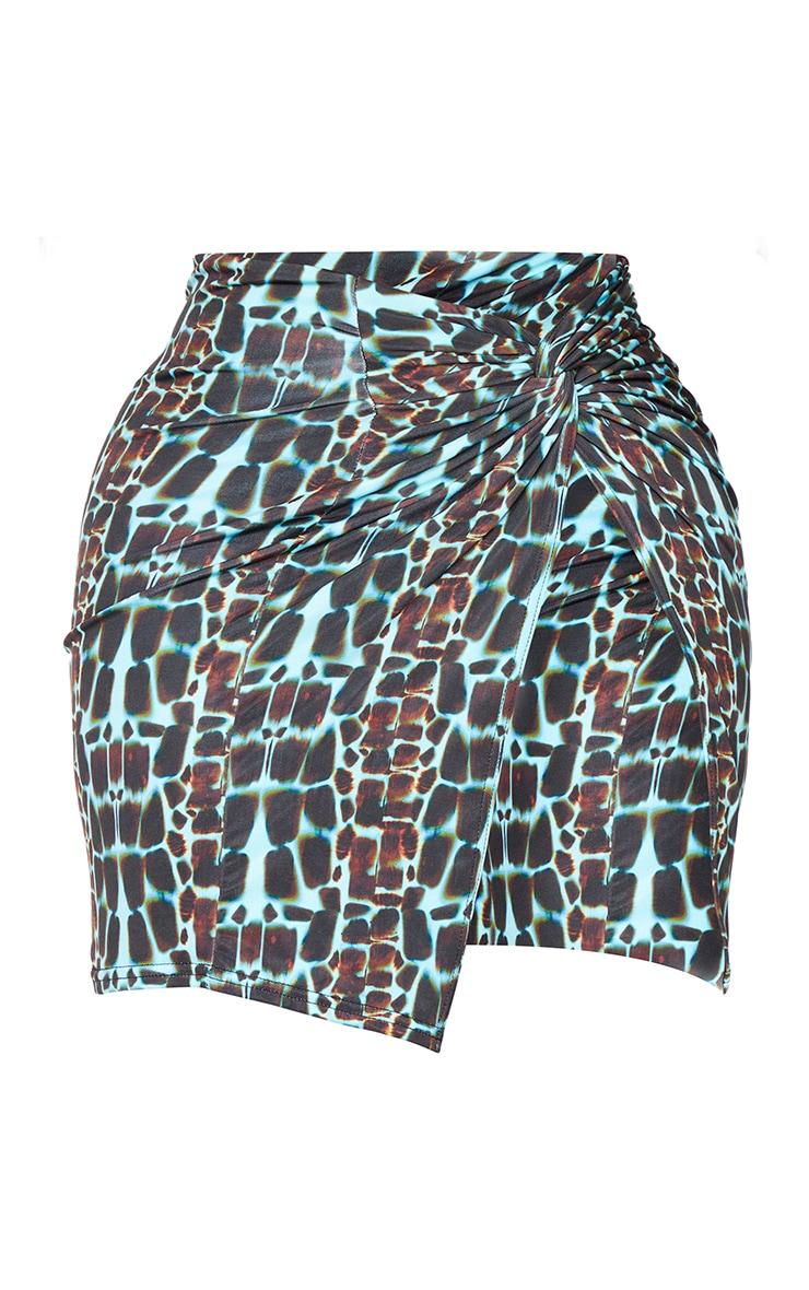 Shape Blue Snake Print Slinky Wrap Detail Split Bodycon Skirt 6