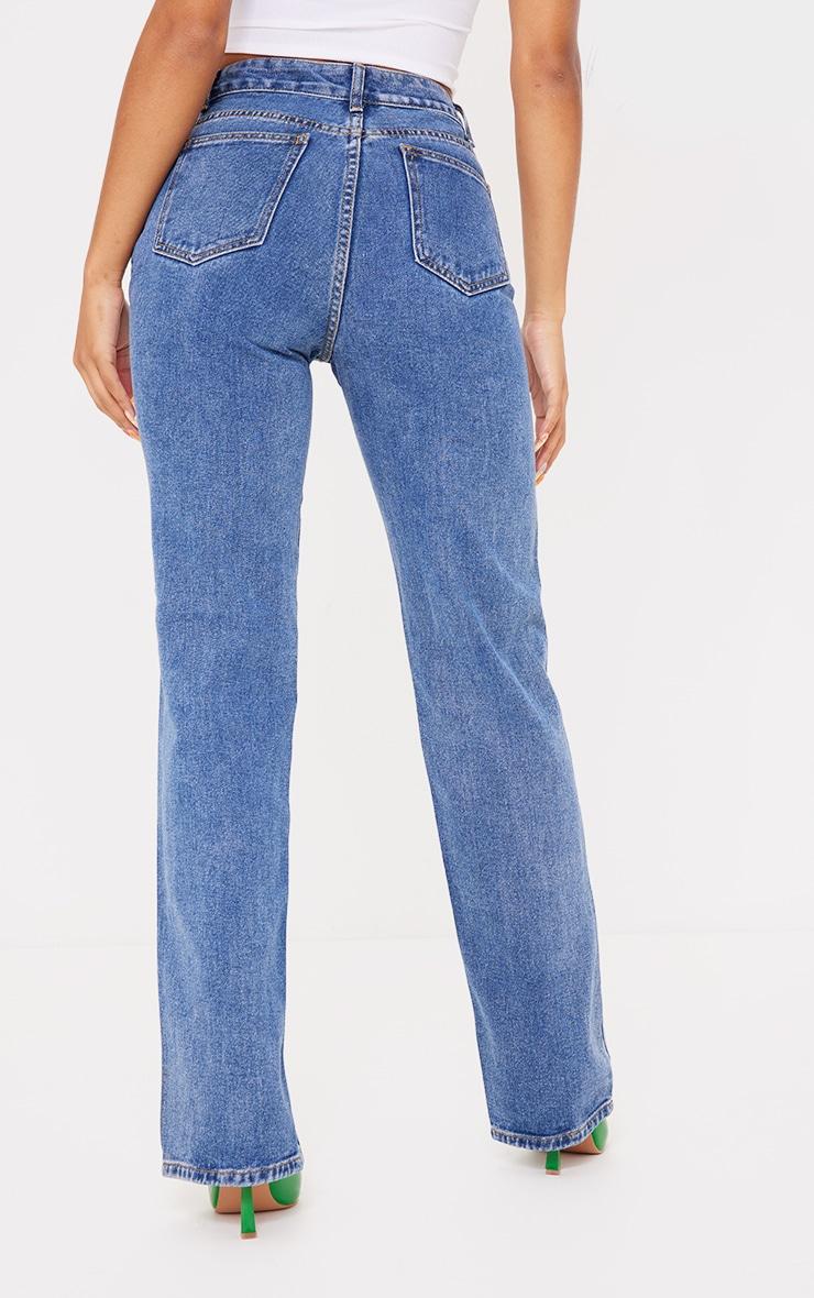 Mid Blue Wash Front Split Long Leg Straight Jeans 3