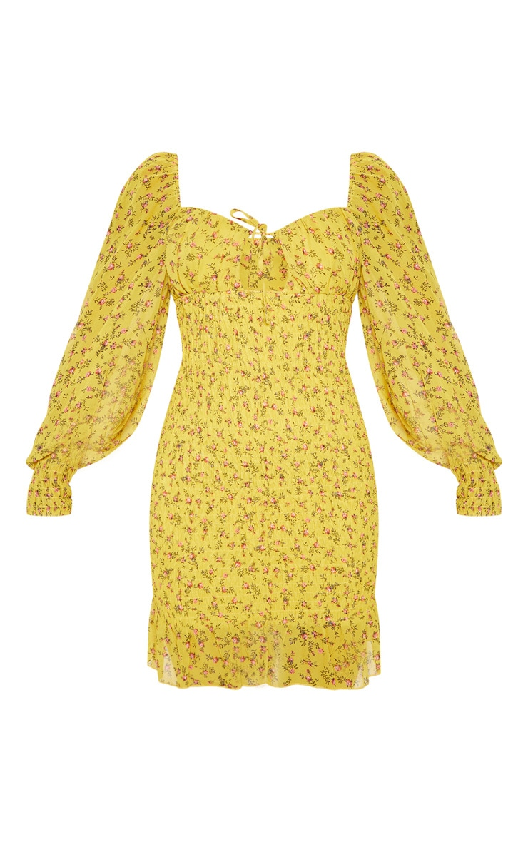 Mustard Ditsy Floral Tie Bust Shirred Frill Bodycon Dress 3