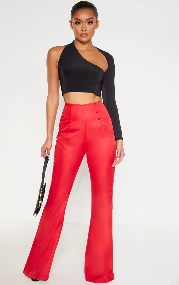 Red Button Detail Wide Leg Trouser 1