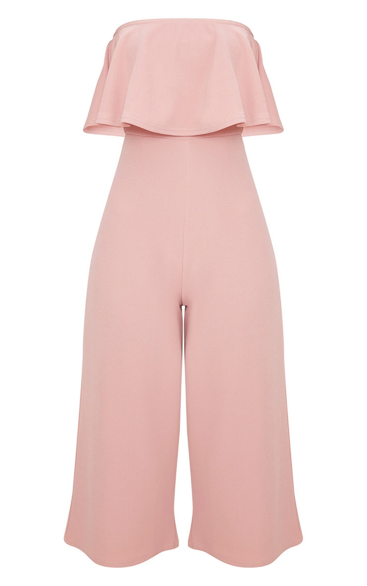 Dusty Pink Bardot Double Layer Culotte Jumpsuit 3
