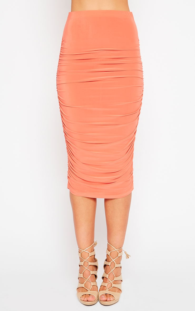 Saylor Orange Slinky Gathered Midi Skirt 2