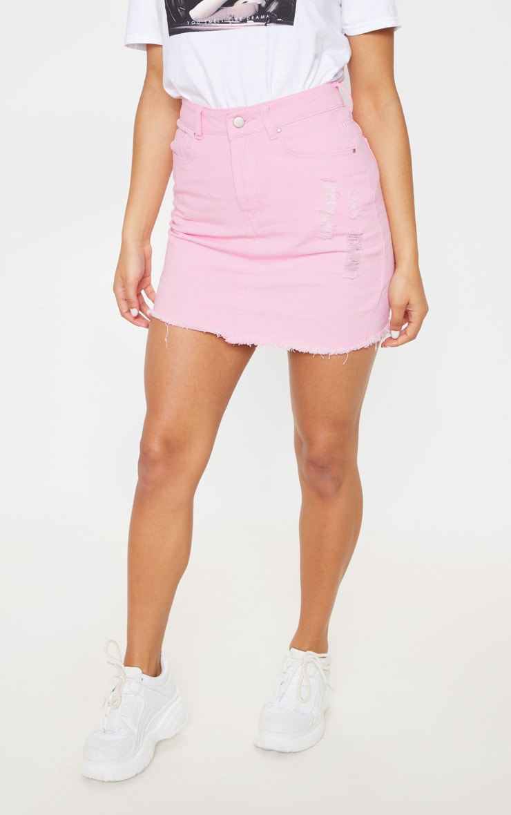 Light Pink Distressed Denim Skirt 2