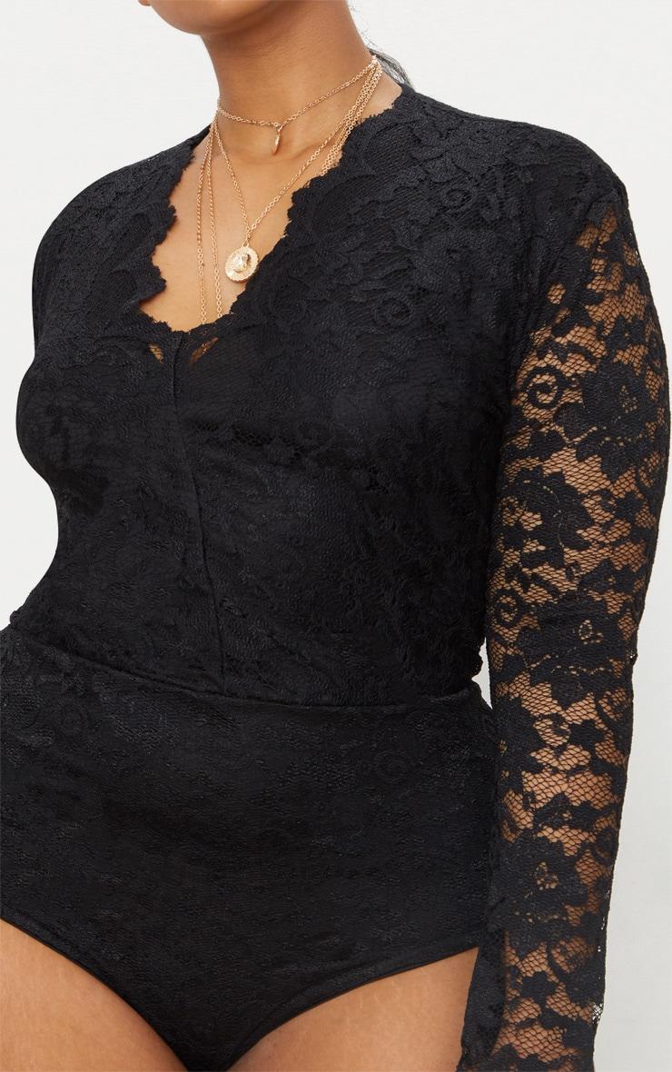 Plus Black Plunge Lace Bodysuit 6