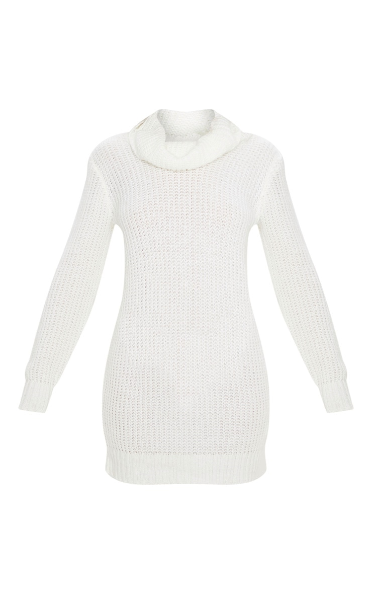 Ivory Roll Neck Fluffy Fisherman Jumper Dress 3