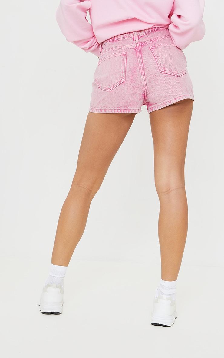 Pink Acid Seam Detail Denim Shorts 3