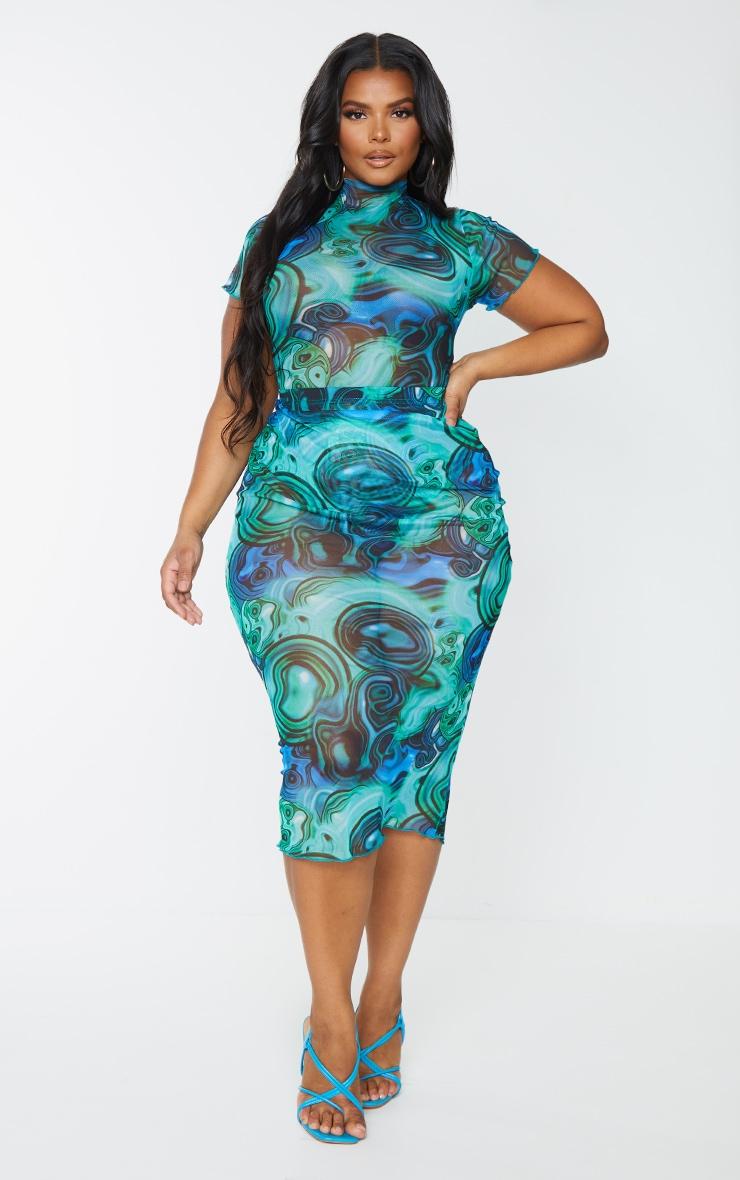 Plus Blue Marble Print Mesh Short Sleeve Bodysuit 3