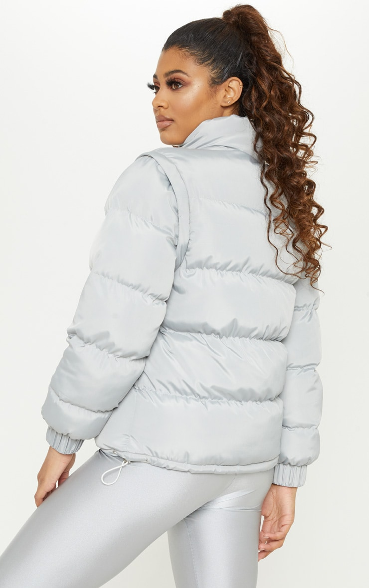 Tall Grey Shell Puffer Jacket 2