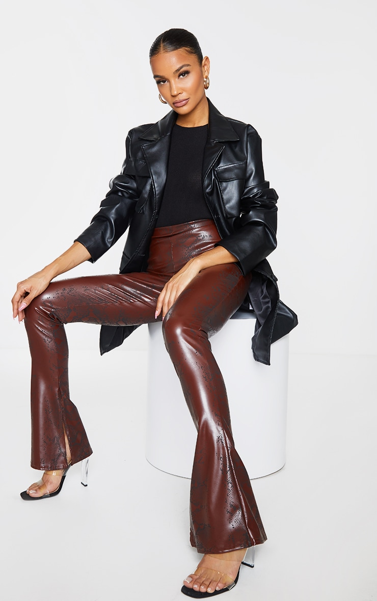 Chocolate Snake Faux Leather Kick Flare Skinny Trousers 1